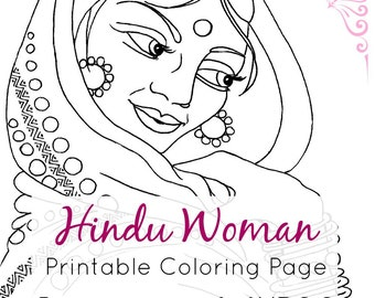 Indian Coloring Page | Hindu Woman Portrait Line Art | Printable PDF & JPEG