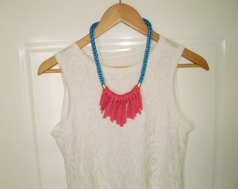tshirt necklace knitted necklace blue necklace pink necklace trendy jewelry statement jewelry fringe necklace tshirt jewelry free shipping