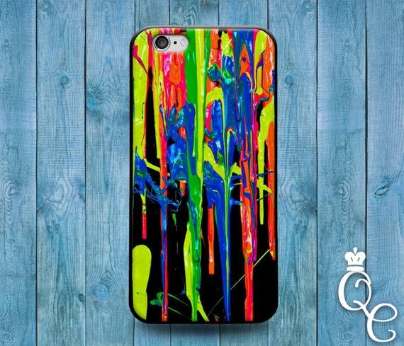 iPhone 4 4s 5 5s 5c SE 6 6s 7 plus iPod Touch 4th 5th 6th Gen Cool Black Paint Splash Splatter Case Adorable Artistic Fun Crayon Cover