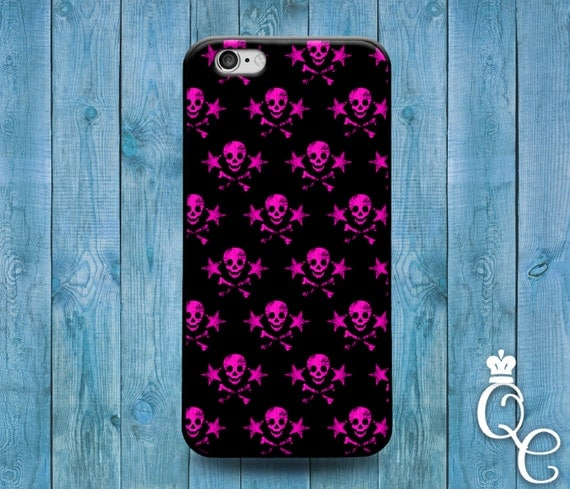 iPhone 4 4s 5 5s 5c SE 6 6s 7 plus iPod Touch 4th 5th 6th Generation Cool Pink Black Cute Skull and Crossbone Pirate Pattern Cover Fun Case