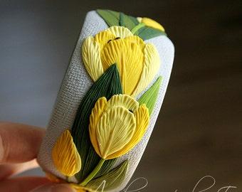 Floral bangle bracelet - Yellow tulips bracelet - Polymer clay Flower bangle - Wide bracelet - Bright bangle - Yellow green bracelet