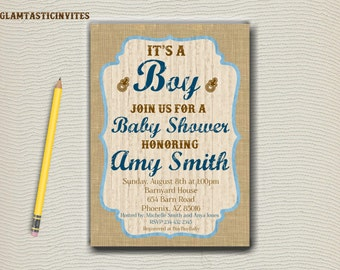 Rustic Baby Shower Invitation, It's A Boy or It's A Girl, Rustic invitation, Baby Shower, Baby Shower invitation, Rustic Invitation, DIY