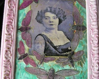 Lady of the Night - mixed media collage with distressed frame