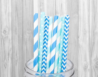 Blue Baby Boy Paper straw - Birthday Party decoration - Wedding - Baby Shower - Mason Jar Straw - Baptism - 25 pcs
