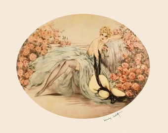 Icart Art Deco Fashion Blond Lady Roses Flowers Vintage Poster Repro FREE SHIPPING in USA