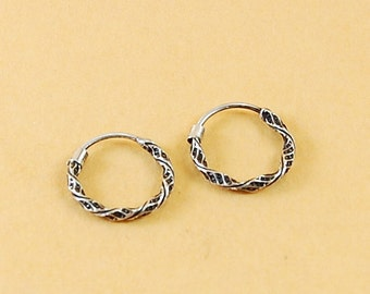 925 Sterling Silver 12mm Carved Hoops Earrings