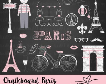 Chalkboard Paris Clipart / Digital Clip Art for Commercial and Personal Use / INSTANT DOWNLOAD