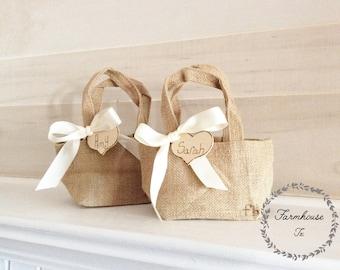 Personalized Burlap Flower Girl Bag- Flower Girl- Basket - Wedding