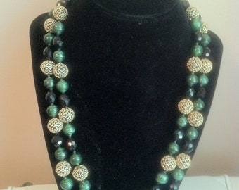 Vogue Signed Green, Black and Gold Double Strand Necklace