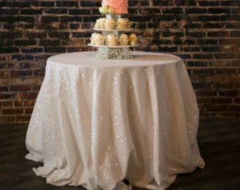 IVORY Glitz Sequin Tablecloth For Wedding And All Other Events! Runners,  Overlays, Rounds