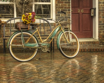 April Showers FREE SHIPPING Country Bicycle Vintage Antique Rustic Shabby Chic Home Decor Wall Art Fine Art Photograph Flowers Basket Rain