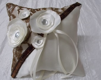 """Handmade ring cushions out of satin """"Autumn Love"""" / hand made Ringcushion"""