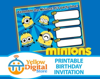 70% OFF SALE Printable Cute Kawaii Minion Birthday Invitation, PDF and jpg template - Instant Download