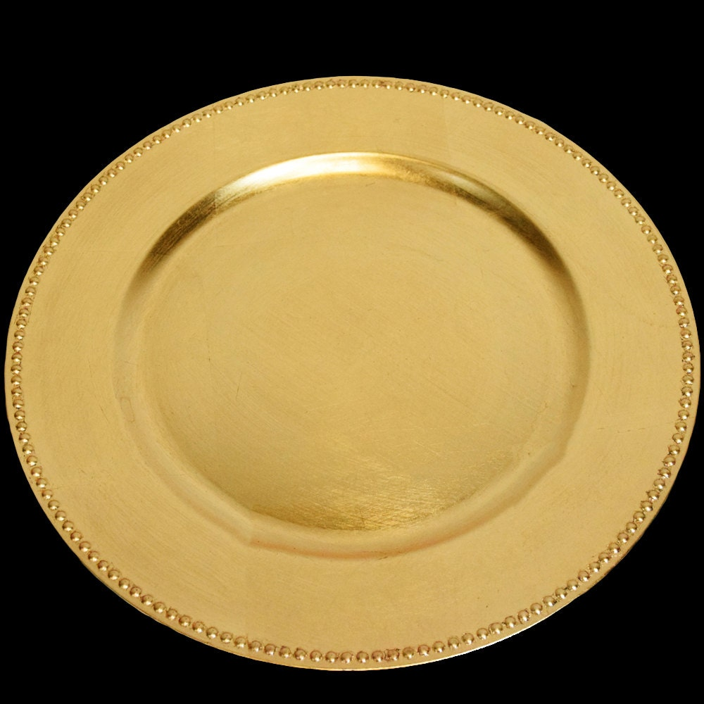 Beaded Charger Plates In Gold And Silver For Wedding