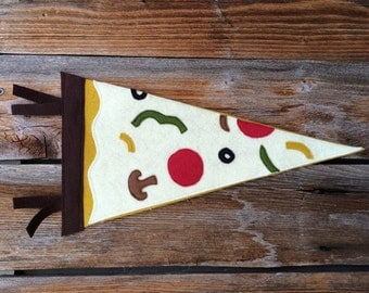 Pizza Party wool felt pennant, banner, wall hanging