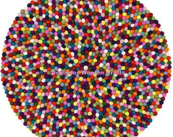 90cm -300cm Handmade 100% Multi-Colour Felt Ball Rug Nursery Rug Home and Kids Room Decoration Area Rug Mat Carpet - Made in Nepal