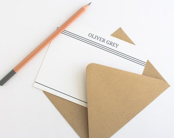 Personalized Stationery - Set of 10 // Men's Stationery // Simple Personalized Note Cards // Business Stationery // Classic Stationery