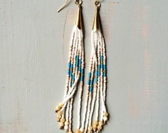 The Highwayman duster seed bead earrings