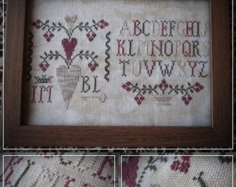 Primitive Hearts / Cross stitch pattern