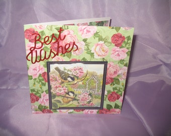 Floral birthday card with bird inset