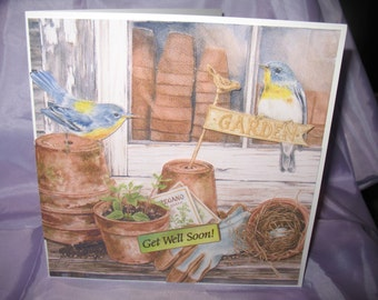 Blue birds at the potting shed get well card