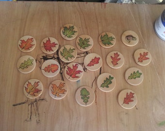 """Woodburned & colored pencil 1.5"""" leaves wood discs"""