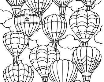 Printable Houses Coloring Page For S Pdf Jpg Instant. Hot Air Balloon Free  Printable Colouring Page Printable ...