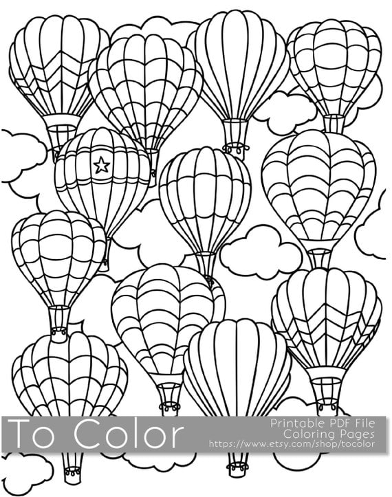 printable hot air balloon coloring page for adults pdf / jpg - Hot Air Balloon Pictures Color