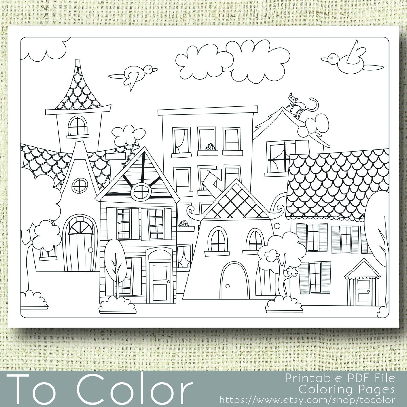 Coloring Pages For Grown Ups Pdf : Printable houses coloring page for adults pdf jpg instant