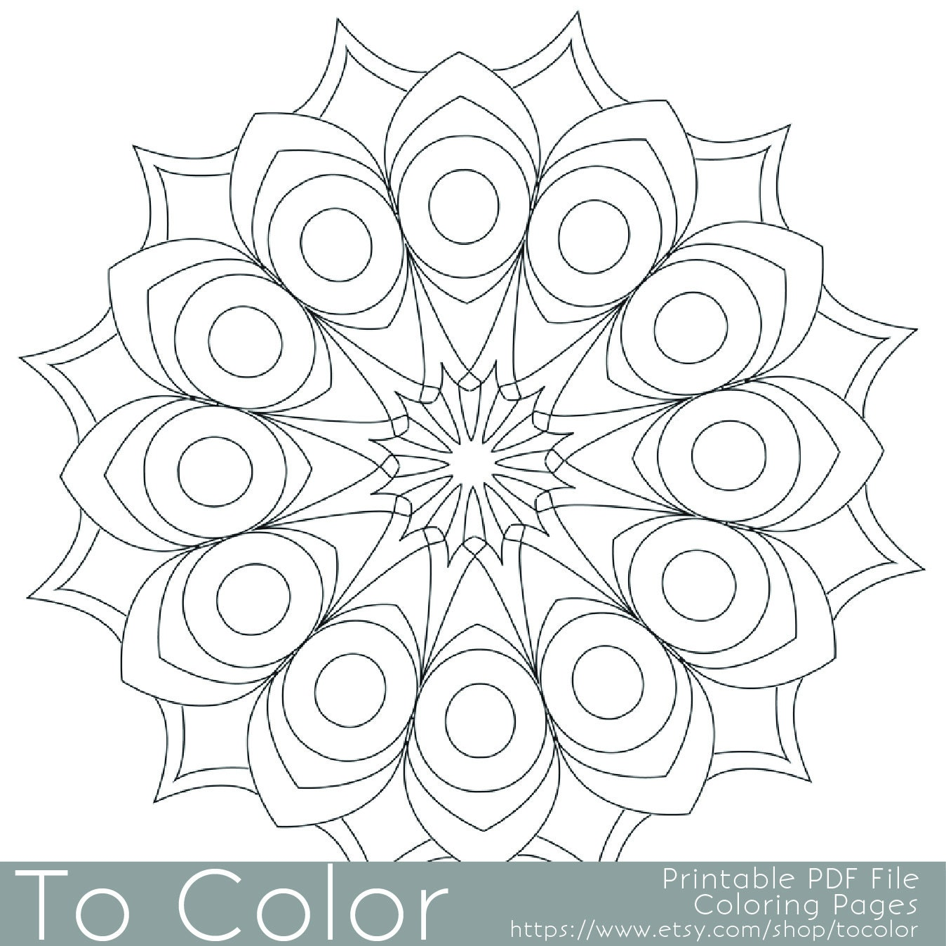 Coloring Pages For Adults: Printable Circular Mandala Easy Coloring Pages For Adults Big