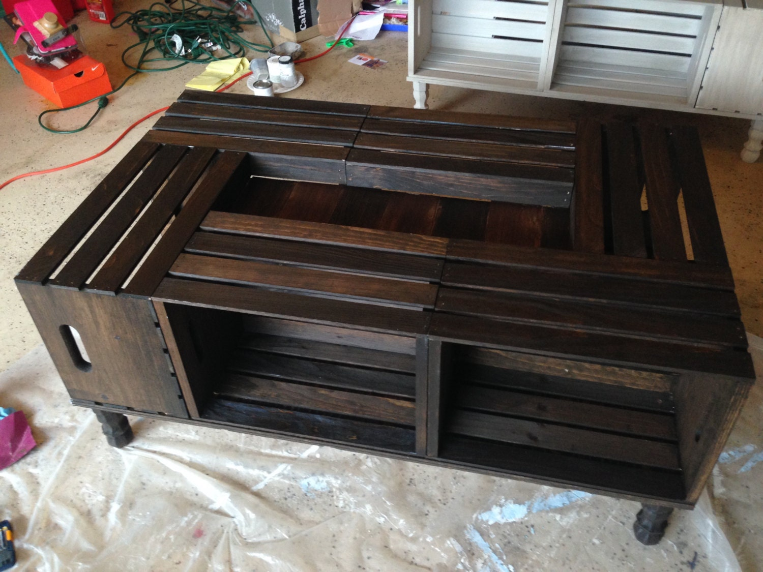 DIY Wooden Wine Crate Coffee Table – Lee's Summit ... |Wooden Crate Coffee Table