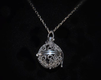 Antique Silver Filigree Magic Music Box Cage Locket. Lava Stone for Essential Oils. Buy Harmony Chime Ball Separately. Chain Incl. AN-011