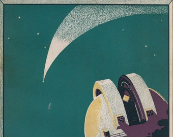 Meteor over Observatory Fortune Magazine Cover - small  print  - Ervine Metzel 1932 - Framable 4 by 6 in-  gift for art lovers