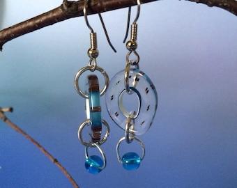 Furnace glass beaded swing earrings