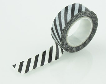 Black & White Diagonal Stripe Washi Tape // 15mm // Paper Tape // BBBsupplies {CR-W-S004}