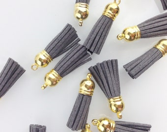 Grey Tassel with Gold Top // 1 1/2 in // Tassels // BBBsupplies {CR-T-G002}
