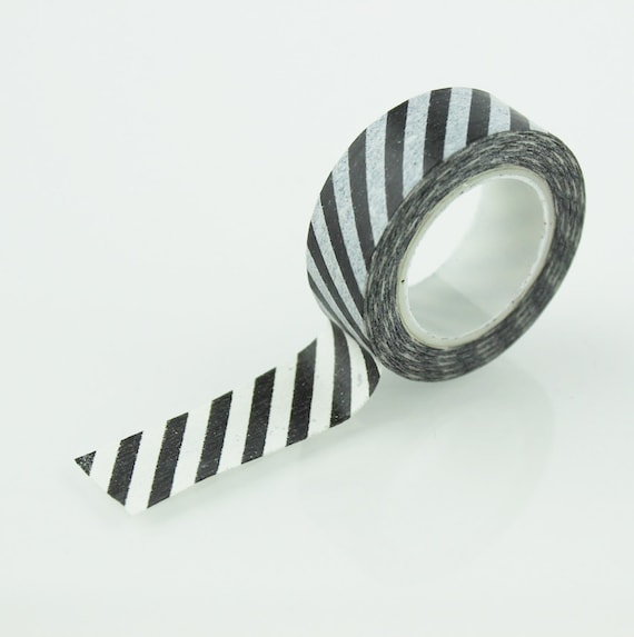 Black Amp White Diagonal Stripe Washi Tape 15mm Paper