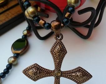 Gold Pearl Cross Neclace