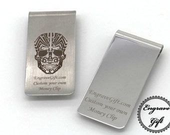 Personalised Custom Handwriting, Logo, Text Laser Engrave Money Clip Steel, Mirror or Brushed Steel Color in your Own Gift Ideas