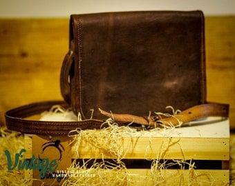 Vintage Handmade Goat Leather Messenger Satchel Full Flap 7x9