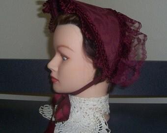 Civil War/Victorian/SASS Ladies Dress Hat/Bonnet ( Burgundy)