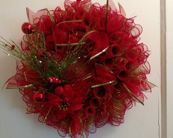 Christmas Wishes Deco Mesh Wreath