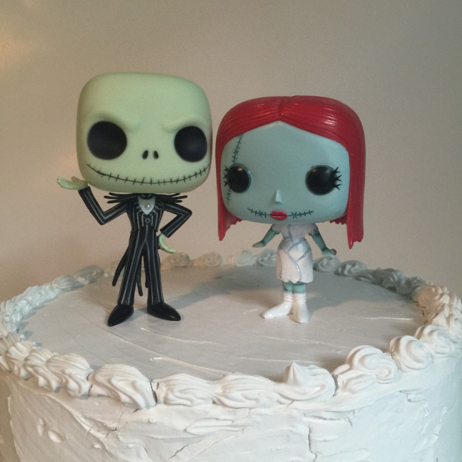 Custom Funko Pop Jack And Sally Wedding Cake Topper Set