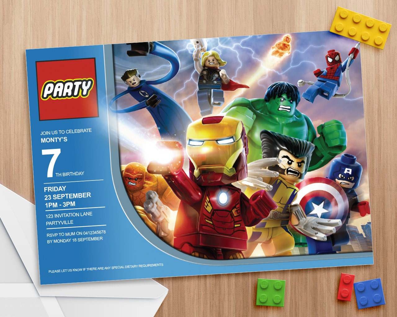 Lego Avengers Party Invite Editable and by MontyandMeShop ...