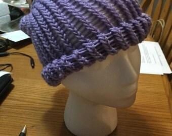 Purple loomed beanie hat