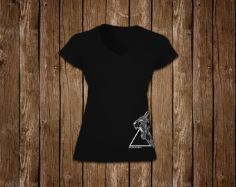 LADIES - Lion Print V-Neck T-Shirt - Black