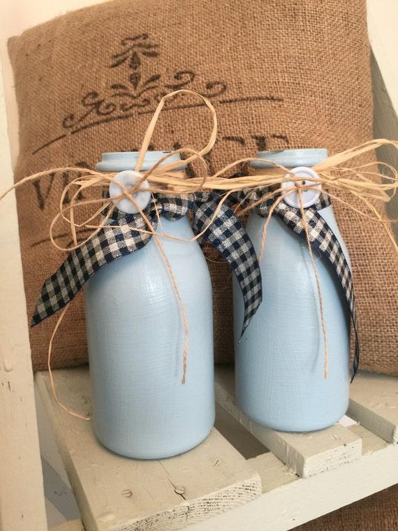 Pair Snow Cap Blue Painted Milk Bottles // Decorative Flower Vessels // Italian Country Table Flower Vessels // Blue Glass Flower Vase