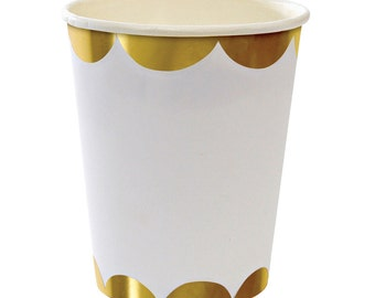 Gold foil scalloped Paper Cups.  Set of 8.  White and gold party cups.  Gold paper cups.  Gold foil cup.  Gold scalloped paper cups.