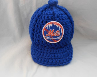 New York Mets Inspired Crochet Baby Hat Baseball Newsboy Cap Hat with Embroidered Logo- Newborn, 0-3 Months, 3-6 Months, 6-12 Months