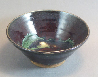 Pottery Bowl Red & Green to Black Glazed REDGTB06